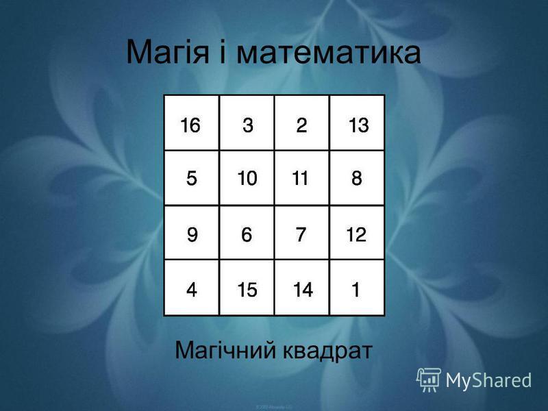 Магія і математика Магічний квадрат