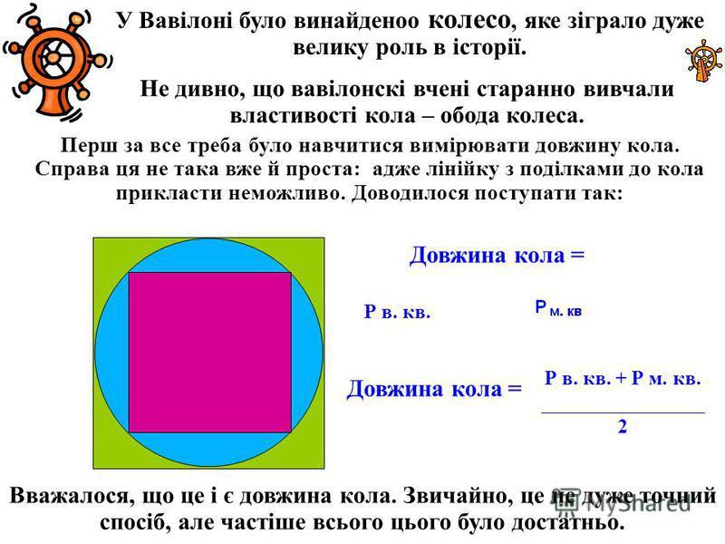 У Вавілоні было винайденоо колесо, яке зіграло даже велика роль в історії. Не дивно, що вавілонскі вчені странно вивчали властивості кола – обода колеса. Перш за все треба было навчитися вимірювати довжину кола. Справа це не така вже й проста: даже л