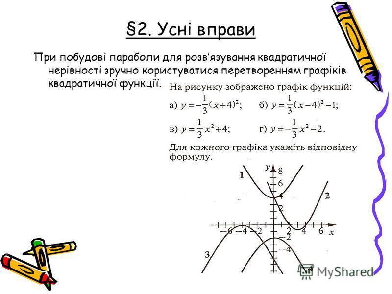 При побудові параболы для розвязування квадратичної нерівності зручно користуватися перетворенням графіків квадратичної функції. §2. Усні вправи
