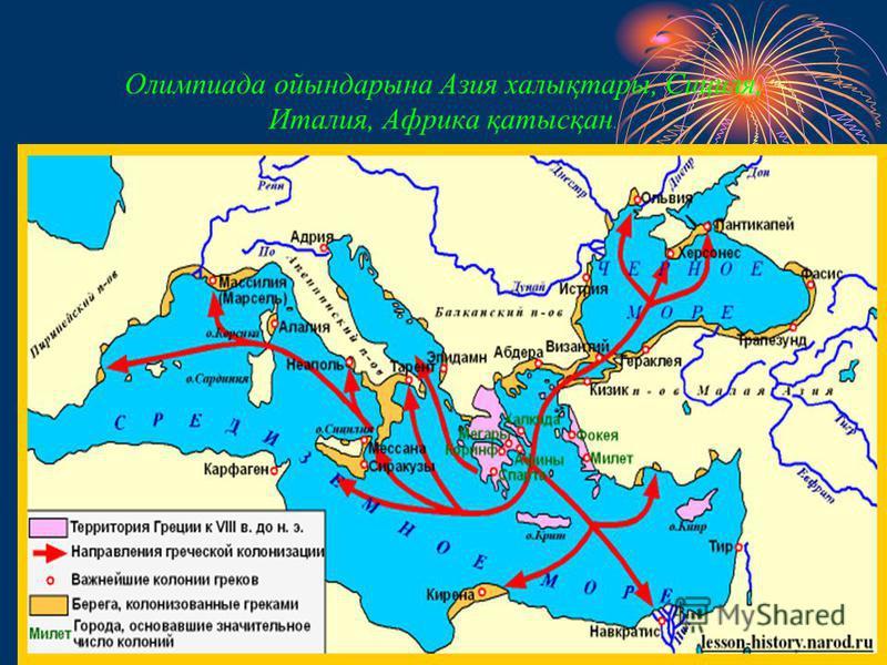 Олимпиада ойындарына Азия халықтары, Сициля, Италия, Африка қатысқан.