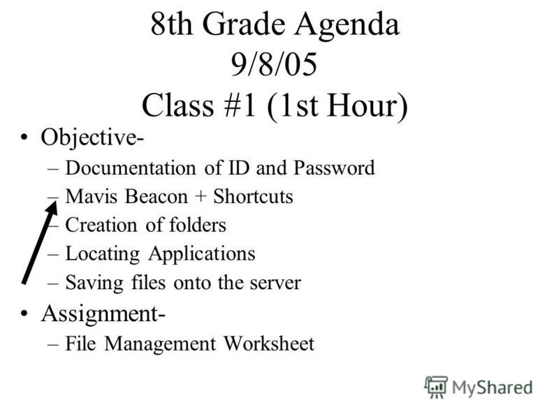 8th Grade Agenda 9/8/05 Class #1 (1st Hour) Objective- –Documentation of ID and Password –Mavis Beacon + Shortcuts –Creation of folders –Locating Applications –Saving files onto the server Assignment- –File Management Worksheet