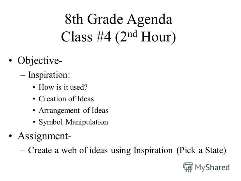 8th Grade Agenda Class #4 (2 nd Hour) Objective- –Inspiration: How is it used? Creation of Ideas Arrangement of Ideas Symbol Manipulation Assignment- –Create a web of ideas using Inspiration (Pick a State)