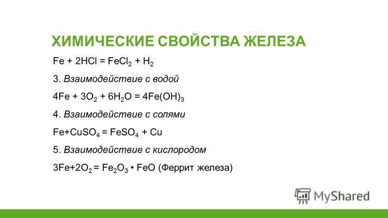 Fe + 2HCl = FeCl 2 + H 2 3. Взаимодействие с водой 4Fe + 3О 2 + 6Н 2 О = 4Fe(ОН) 3 4. Взаимодействие с солями Fe+CuSO 4 = FeSO 4 + Cu 5. Взаимодействие с кислородом 3Fe+2O 2 = Fe 2 O 3 FeO (Феррит железа) ХИМИЧЕСКИЕ СВОЙСТВА ЖЕЛЕЗА