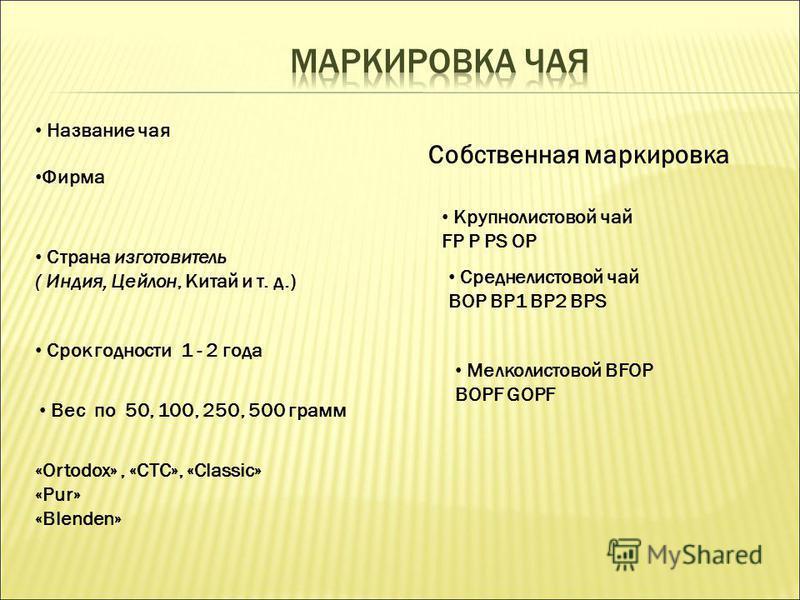 Страна изготовитель ( Индия, Цейлон, Китай и т. д.) Срок годности 1 - 2 года Вес по 50, 100, 250, 500 грамм «Ortodox», «СTC», «Сlassic» «Pur» «Blenden» Крупнолистовой чай FP P PS OP Среднелистовой чай BOP BP1 BP2 BPS Мелколистовой BFOP BOPF GOPF Назв