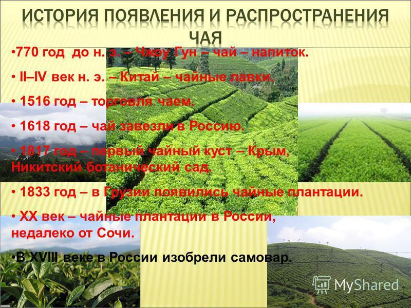 770 год до н. э. – Чжоу Гун – чай – напиток. II–IV век н. э. – Китай – чайные лавки. 1516 год – торговля чаем. 1618 год – чай завезли в Россию. 1817 год – первый чайный куст – Крым, Никитский ботанический сад. 1833 год – в Грузии появились чайные пла