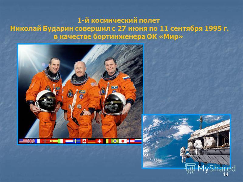 14 1-й космический полет Николай Бударин совершил с 27 июня по 11 сентября 1995 г. в качестве бортинженера ОК «Мир»