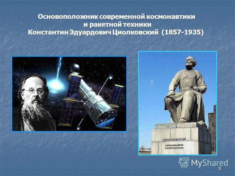 3 Основоположник современной космонавтики и ракетной техники Константин Эдуардович Циолковский (1857-1935)