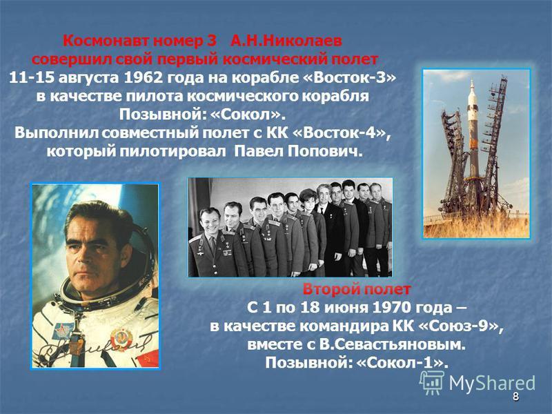 8 Космонавт номер 3 А.Н.Николаев совершил свой первый космический полет 11-15 августа 1962 года на корабле «Восток-3» в качестве пилота космического корабля Позывной: «Сокол». Выполнил совместный полет с КК «Восток-4», который пилотировал Павел Попов