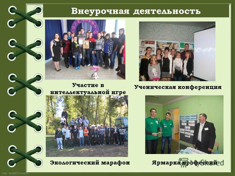 http://linda6035.ucoz.ru/ Внеурочная деятельность Участие в интеллектуальной игре «Интеллект - 63 Ученическая конференция Экологический марафон Ярмарка профессий