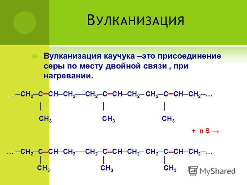 В УЛКАНИЗАЦИЯ Вулканизация каучукка –это присоединение серы по месту двойной связи, при нагревании. … … СН 2 ССНСН 2СН 2 ССНСН 2 СН 2 ССНСН 2 … СН 3 СН 3 СН 3 + n S … СН 2 ССНСН 2 СН 2 ССНСН 2 СН 2 ССНСН 2 … СН 3 СН 3 СН 3