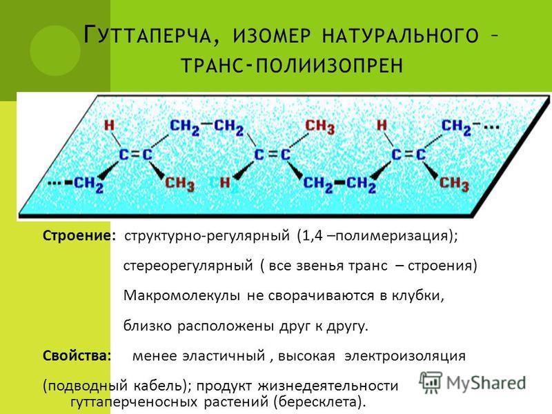Г УТТАПЕРЧА, ИЗОМЕР НАТУРАЛЬНОГО – ТРАНС - ПОЛИИЗОПРЕН Строение: структурно-регулярный (1,4 –полимеризация); стереорегулярный ( все звенья транс – строения) Макромолекулы не сворачиваются в клубки, близко расположены друг к другу. Свойства: менее эла