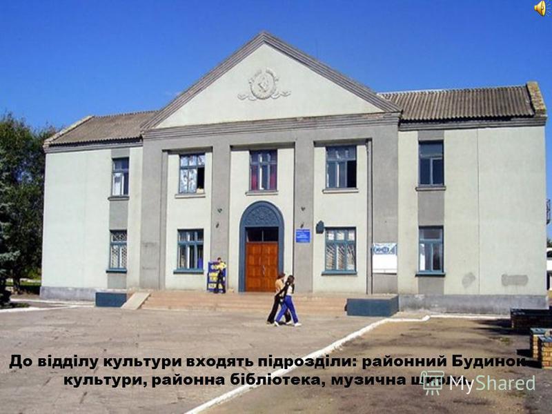 До відділу культури входять підрозділи: районный Будинок культури, района бібліотека, музична школа.