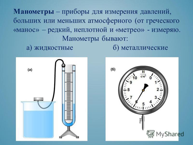 Манометры – приборы для измерения давлений, больших или меньших атмосферного (от греческого «масон» – редкий, неплотной и «метро» - измеряю. Манометры бывают: а) жидкостные б) металлические