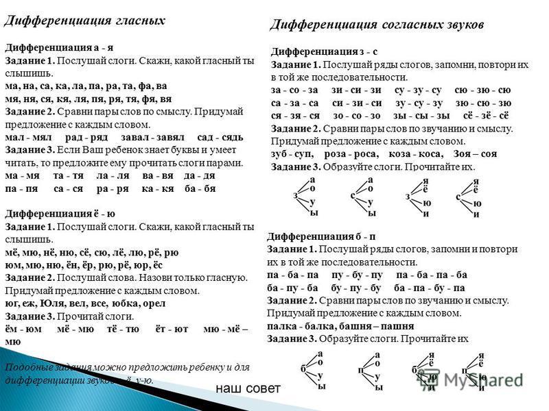 Дифференциация гласных Дифференциация а - я Задание 1. Послушай слоги. Скажи, какой гласный ты слышишь. ма, на, са, ка, ла, па, ра, та, фа, ва мя, ня, ся, кя, ля, пя, ря, тя, фя, вя Задание 2. Сравни пары слов по смыслу. Придумай предложение с каждым