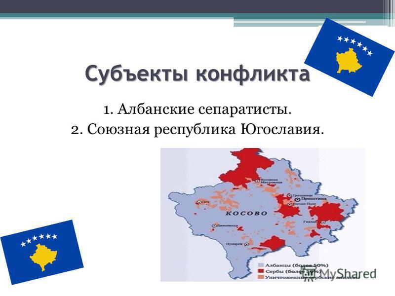 Субъекты конфликта 1. Албанские сепаратисты. 2. Союзная республика Югославия.