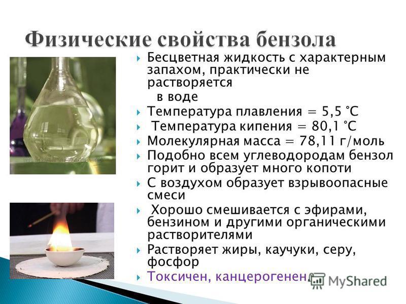 Бесцветная жидкость с характерным запахом, практически не растворяется в воде Температура плавления = 5,5 °C Температура кипения = 80,1 °C Молекулярная масса = 78,11 г/моль Подобно всем углеводородам бензол горит и образует много копоти С воздухом об