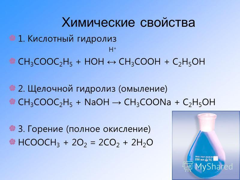 Химические свойства 1. Кислотный гидролиз Н + СН 3 СООС 2 Н 5 + НОН СН 3 СООН + С 2 Н 5 ОН 2. Щелочной гидролиз (омыление) СН 3 СООС 2 Н 5 + NaОН СН 3 СООNa + С 2 Н 5 ОН 3. Горение (полное окисление) НСООСН 3 + 2О 2 = 2СО 2 + 2Н 2 О