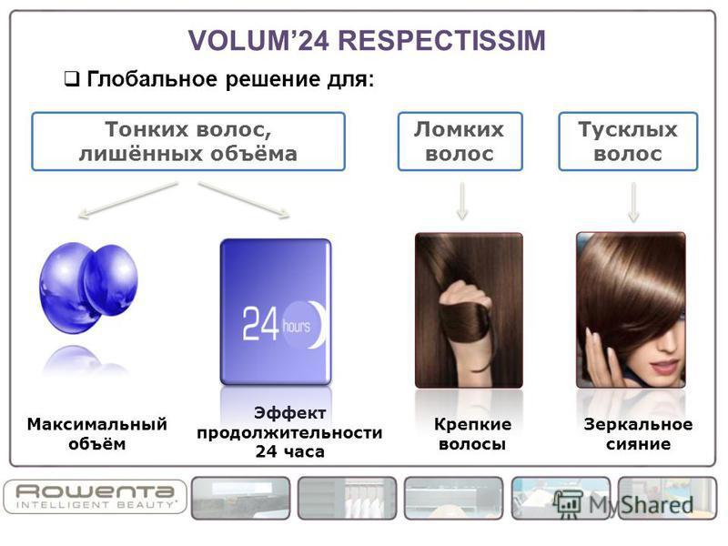 Глобальное решение для: Крепкие волосы Эффект продолжительности 24 часа Зеркальное сияние Максимальный объём Тонких волос, лишённых объёма Ломких волос Тусклых волос VOLUM24 RESPECTISSIM
