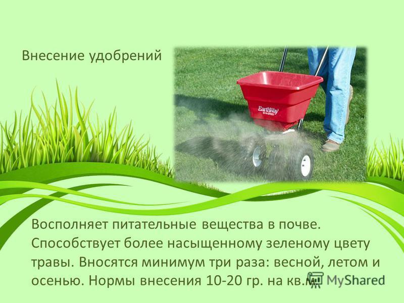 Внесение удобрений Восполняет питательные вещества в почве. Способствует более насыщенному зеленому цвету травы. Вносятся минимум три раза: весной, летом и осенью. Нормы внесения 10-20 гр. на кв.м.