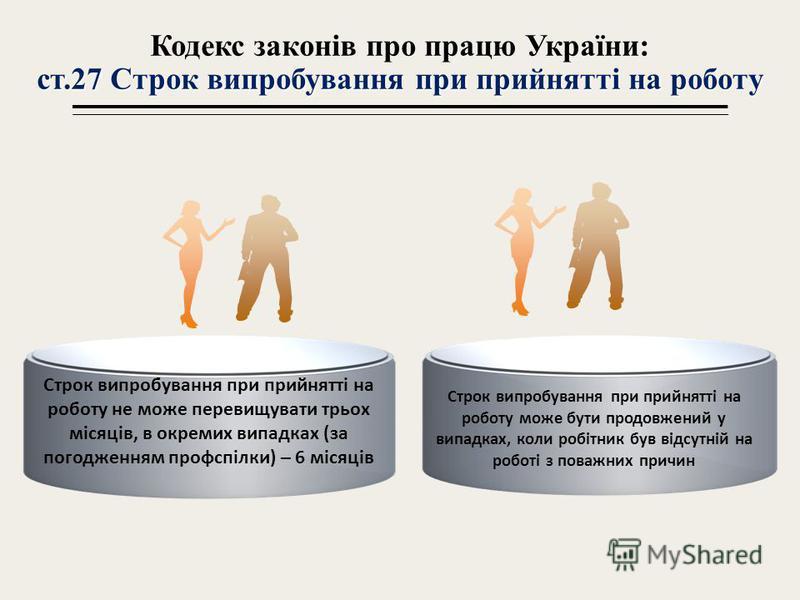 ст.27 Строк випробуванна при прийнатті на роботу Кодекс законів про працю України: ст.27 Строк випробуванна при прийнатті на роботу Строк випробуванна при прийнатті на роботу не может перевищувати трьох місяців, в окремих випадках (за погодженнам про
