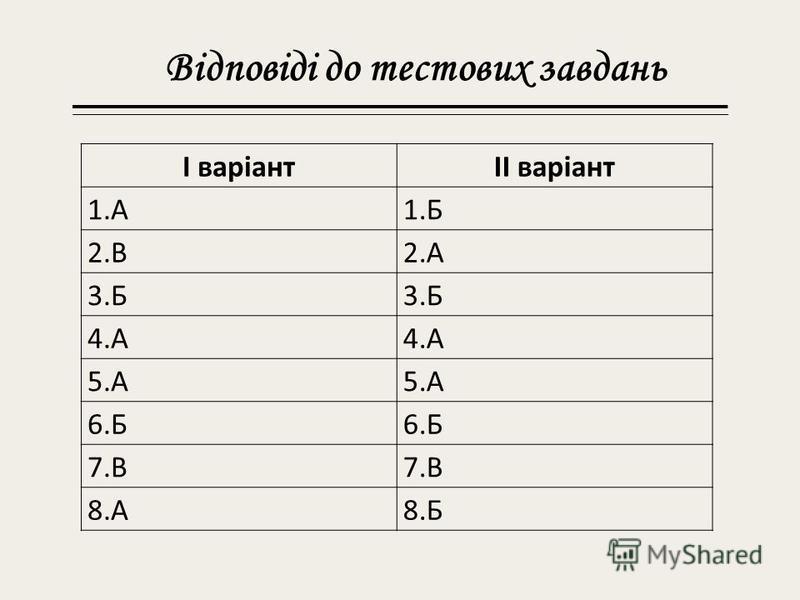 Відповіді до тестових завдань І варіантІІ варіант 1.А1. Б 2.В2. А 3. Б 4. А 5. А 6. Б 7. В 8.А8.Б