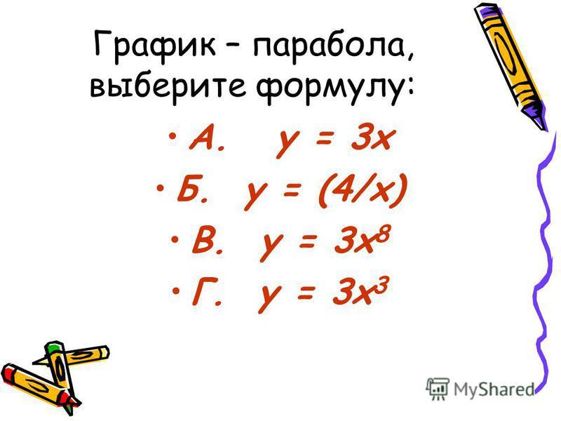 График – парабола, выберите формулу: А. y = 3x Б. y = (4/х) В. y = 3x 8 Г. y = 3x 3