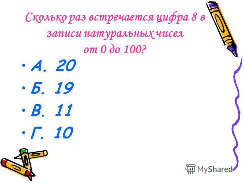 Сколько раз встречается цифра 8 в записи натуральных чисел от 0 до 100? А. 20 Б. 19 В. 11 Г. 10