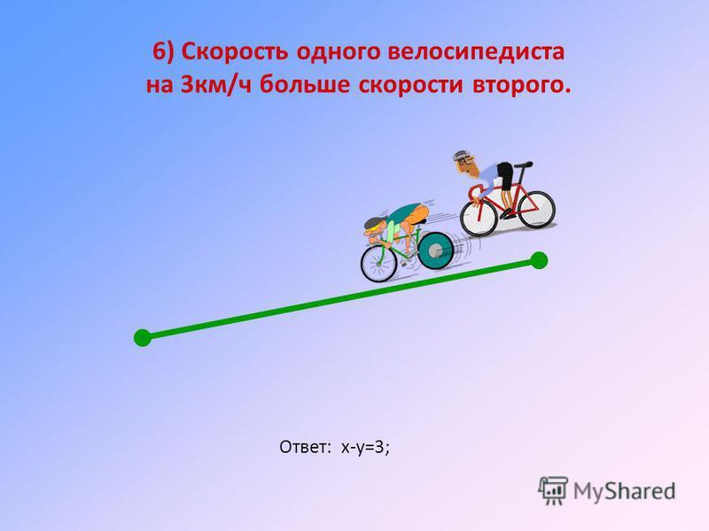 6) Скорость одного велосипедиста на 3 км/ч больше скорости второго. Ответ: х-у=3;