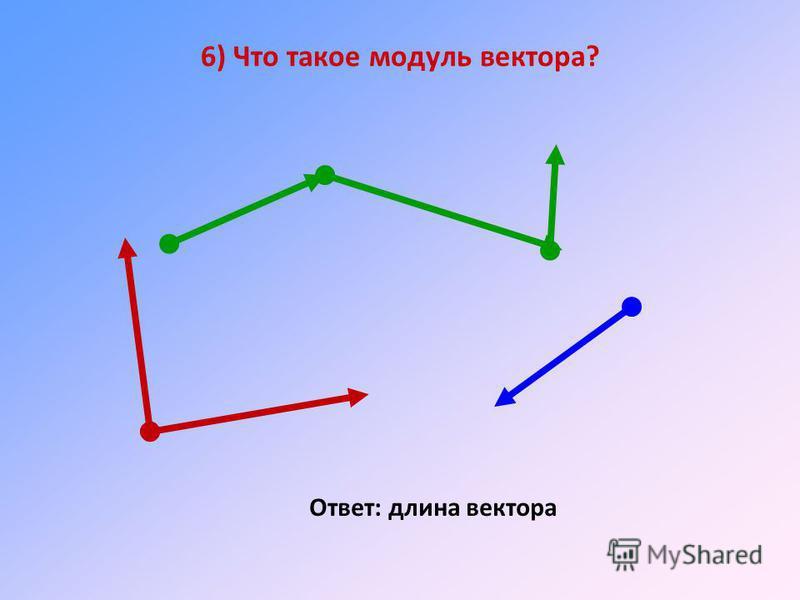 6) Что такое модуль вектора? Ответ: длина вектора