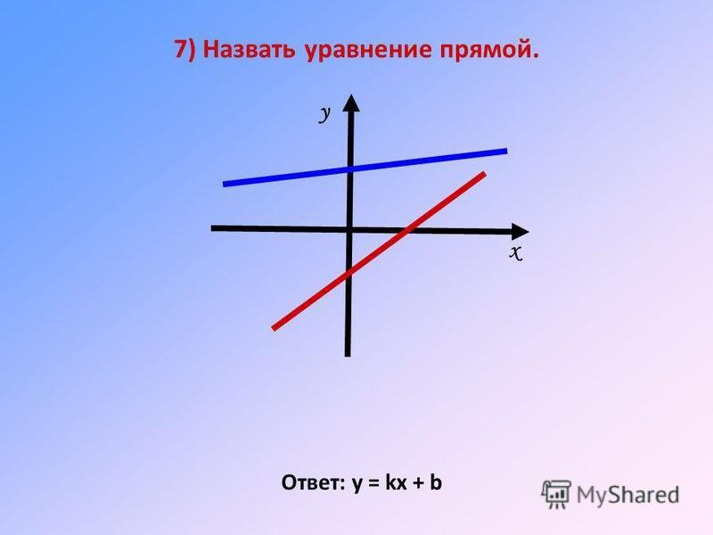7) Назвать уравнение прямой. Ответ: у = kх + b х у