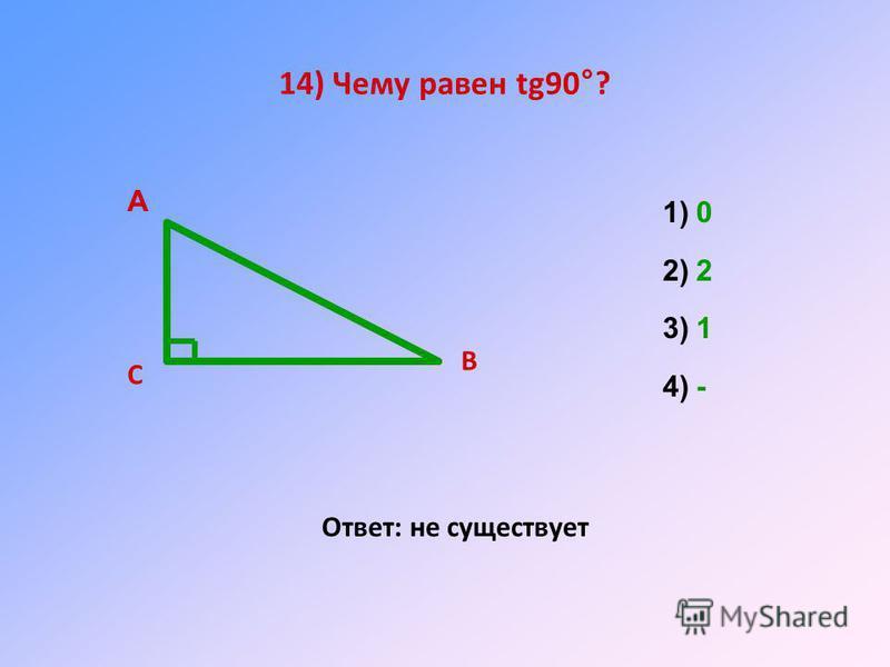 14) Чему равен tg90°? Ответ: не существует А В С 1)0 2)2 3)1 4)-