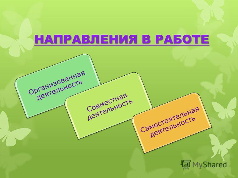 НАПРАВЛЕНИЯ В РАБОТЕ Организованная деятельность Совместная деятельность Самостоятельная деятельность