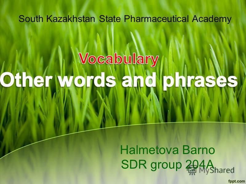 Halmetova Barno SDR group 204A South Kazakhstan State Pharmaceutical Academy