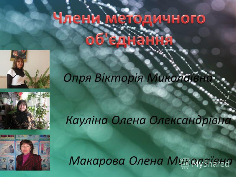 Опря Вікторія Миколаївна Кауліна Олена Олександрівна Макарова Олена Миколаївна