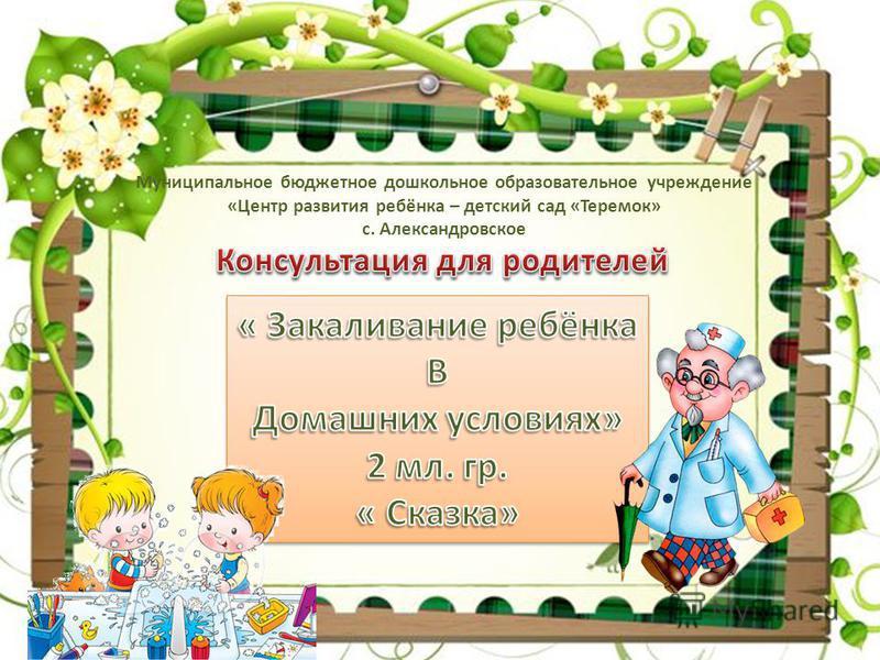 Муниципальное бюджетное дошкольное образовательное учреждение «Центр развития ребёнка – детский сад «Теремок» с. Александровское