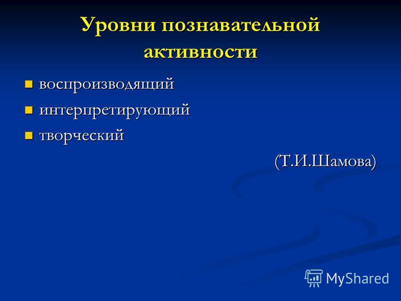 Уровни познавательной активности воспроизводящий воспроизводящий интерпретирующий интерпретирующий творческий творческий(Т.И.Шамова)