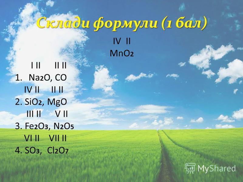 IV II MnO 2 I II II II 1.Na 2 O, CO IV II II II 2. SiO 2, МgO III II V II 3. Fe 2 O 3, N 2 O 5 VI II VII II 4. SO 3, Cl 2 O 7