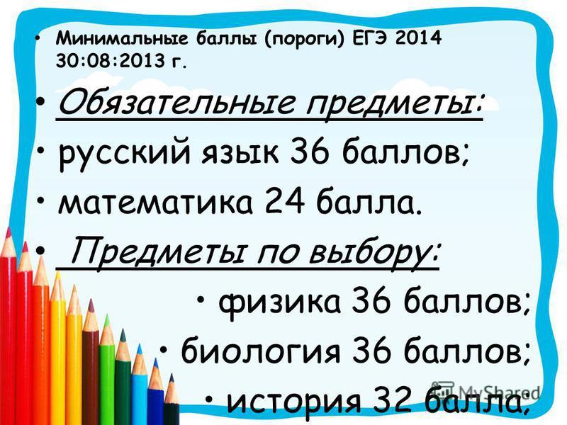 Минимальные баллы (пороги) ЕГЭ 2014 30:08:2013 г. Обязательные предметы: русский язык 36 баллов; математика 24 балла. Предметы по выбору: физика 36 баллов; биология 36 баллов; история 32 балла;