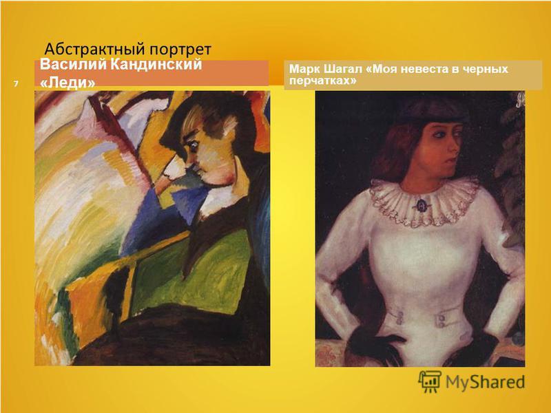 7 Василий Кандинский «Леди» Марк Шагал «Моя невеста в черных перчатках» Абстрактный портрет