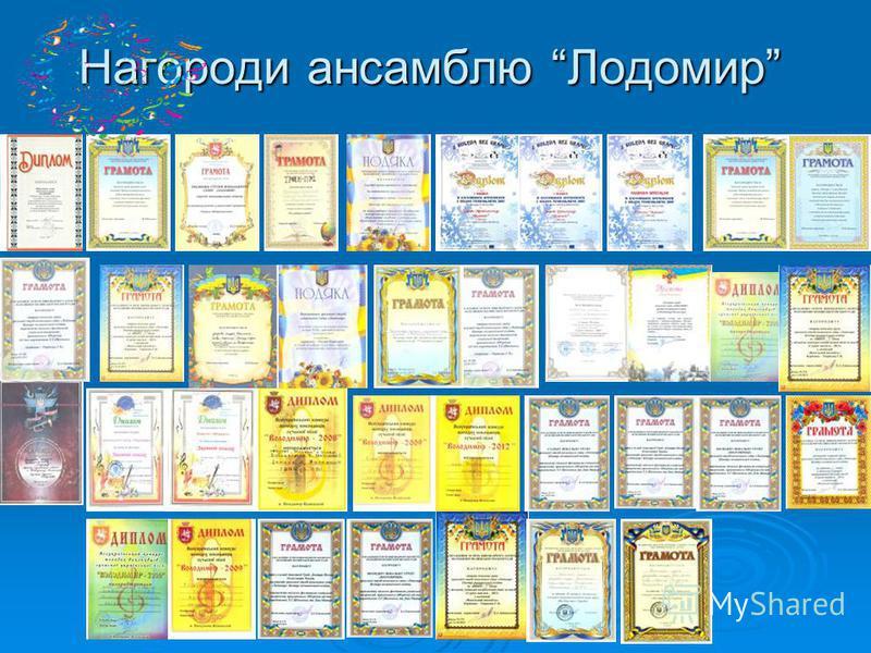 Нагороди ансамблю Лодомир