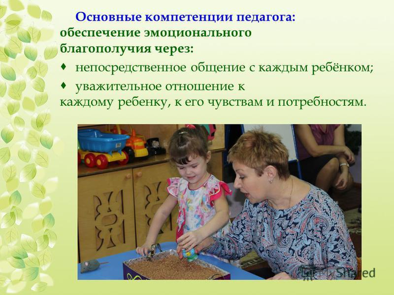 Основные компетенции педагога: обеспечение эмоционального благополучия через: непосредственное общение с каждым ребёнком; уважительное отношение к каждому ребенку, к его чувствам и потребностям.
