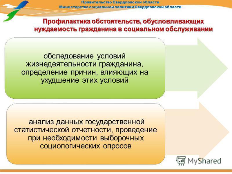 Правительство Свердловской области Министерство социальной политики Свердловской области Профилактика обстоятельств, обусловливающих нуждаемость гражданина в социальном обслуживании обследование условий жизнедеятельности гражданина, определение причи