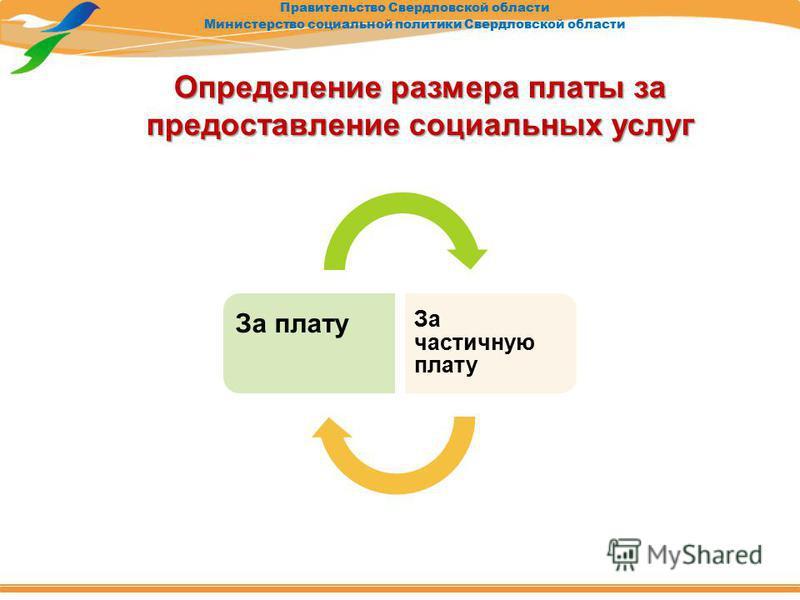 Правительство Свердловской области Министерство социальной политики Свердловской области Определение размера платы за предоставление социальных услуг За плату За частичную плату