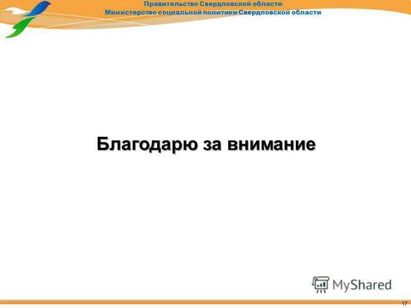 Правительство Свердловской области Министерство социальной политики Свердловской области Благодарю за внимание 17