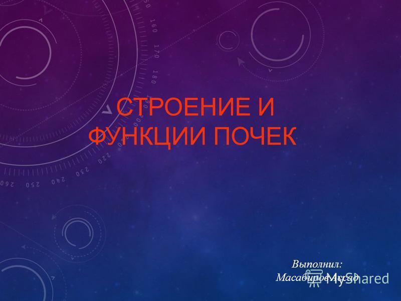 СТРОЕНИЕ И ФУНКЦИИ ПОЧЕК Выполнил: Масабиров Ассад