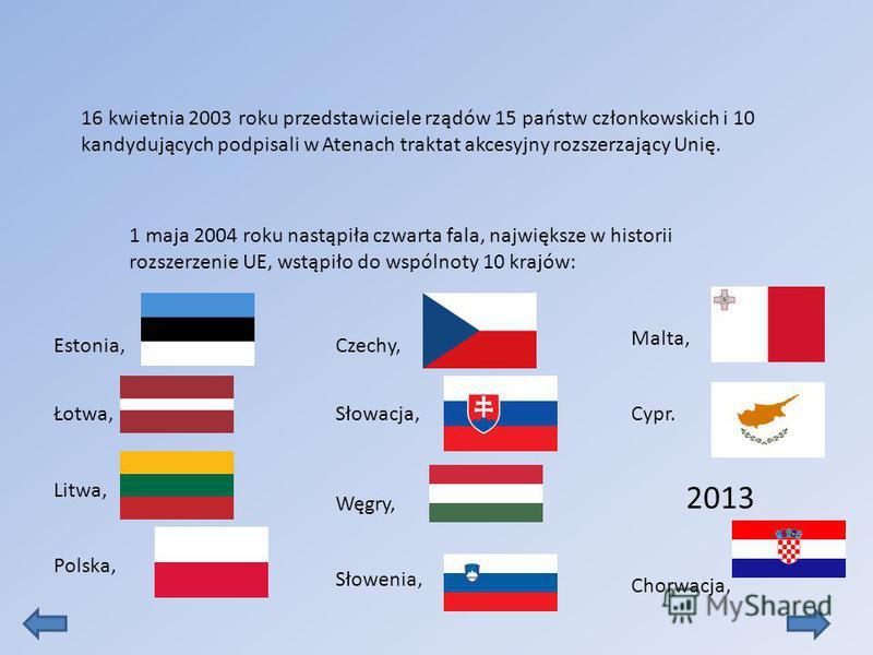 1 maja 2004 roku nastąpiła czwarta fala, największe w historii rozszerzenie UE, wstąpiło do wspólnoty 10 krajów: 16 kwietnia 2003 roku przedstawiciele rządów 15 państw członkowskich i 10 kandydujących podpisali w Atenach traktat akcesyjny rozszerzają