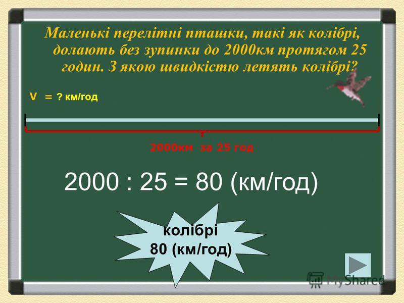 Галка пролетіла 240 км за 4 години, а чиж пролетів 150 км за 3 години. У кого з них швидкість більша і на скільки? 240 : 4 = 60 (км/год) 150 : 3 =50 (км/год) ч и ж 5 0 ( к м / г о д ) г а л к а 6 0 ( к м / г о д ) 150км за 3 год 240км за 4 год V = ?