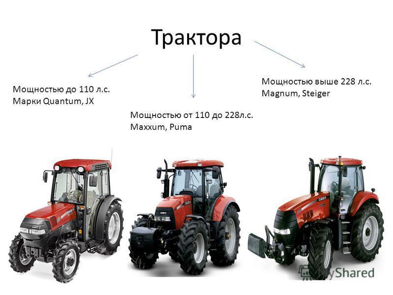 Мощностью до 110 л.с. Марки Quantum, JX Мощностью от 110 до 228 л.с. Maxxum, Puma Мощностью выше 228 л.с. Magnum, Steiger