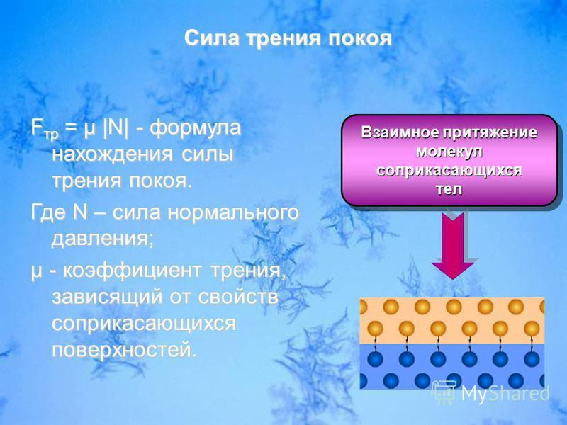 Взаимное притяжение молекул соприкасающихся тел соприкасающихся тел F тр = µ |N| - формула нахождения силы трения покоя. Где N – сила нормального давления; µ - коэффициент трения, зависящий от свойств соприкасающихся поверхностей. Сила трения покоя