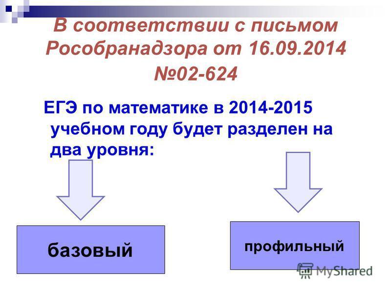 В соответствии с письмом Рособранадзора от 16.09.2014 02-624 ЕГЭ по математике в 2014-2015 учебном году будет разделен на два уровня: базовый профильный